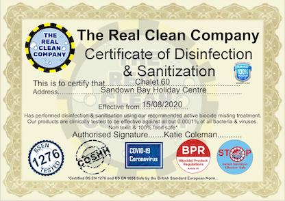 Our chalets are certified COVID-19 secure as confirmed by local cleaning agency's certification